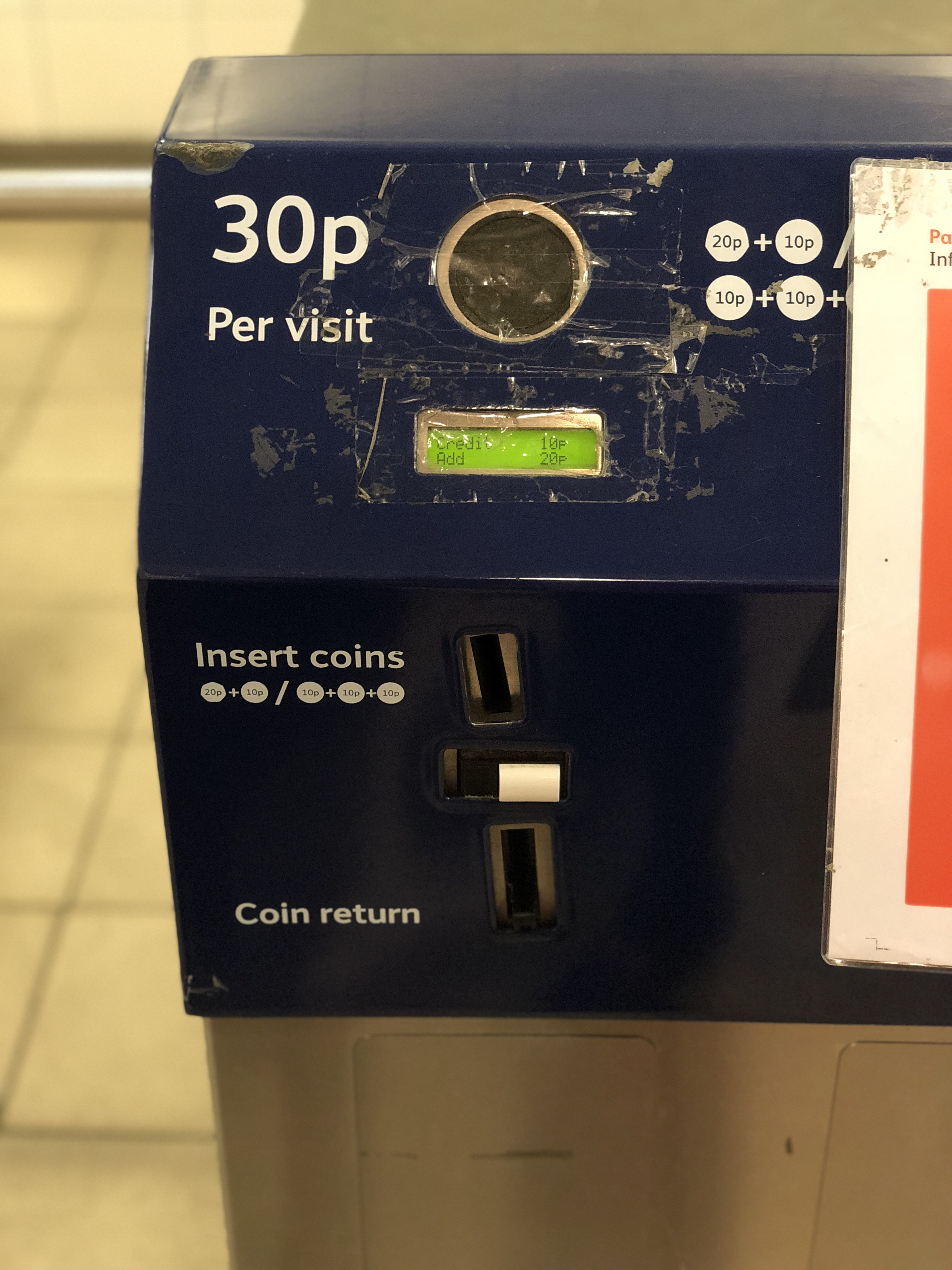 They're even courteous enough to provide a change machine should you not have 30 pence