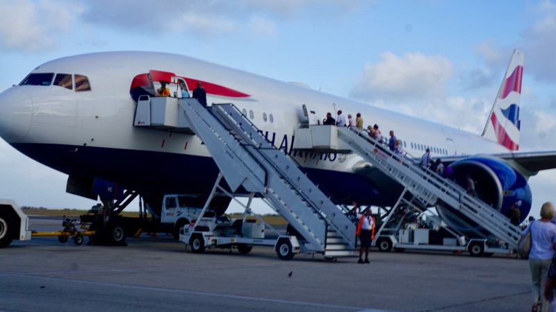 Yes, at Grantley Adams International Airport you use stairs to board the plane!